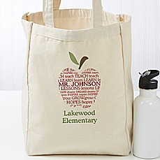 image of Apple Scroll Teacher Petite Canvas Tote Bag