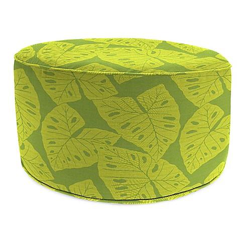 Outdoor round pouf ottoman in sunbrella radiant kiwi for Ulani outdoor round pouf ottoman