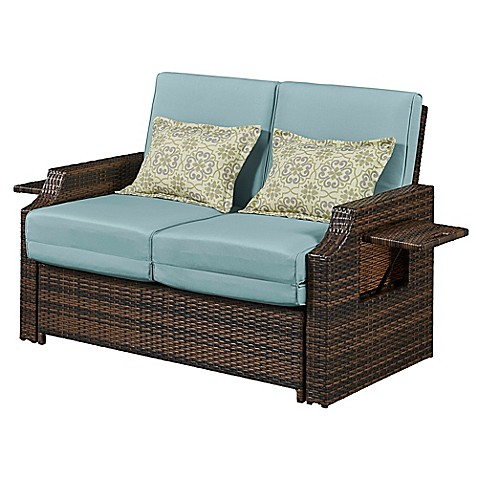 Relax A Lounger Bahama All Weather Wicker Outdoor Convertible Loveseat In Sea Breeze Bed Bath