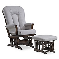 image of Dutailier® Sleigh Glider and Ottoman in Brown/Dark Grey