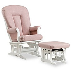 image of Dutailier® Sleigh Glider and Nursing Ottoman in White/Light Pink