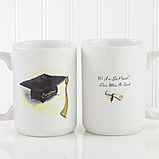 image of Cap & Diploma 15 oz. Coffee Mug in White