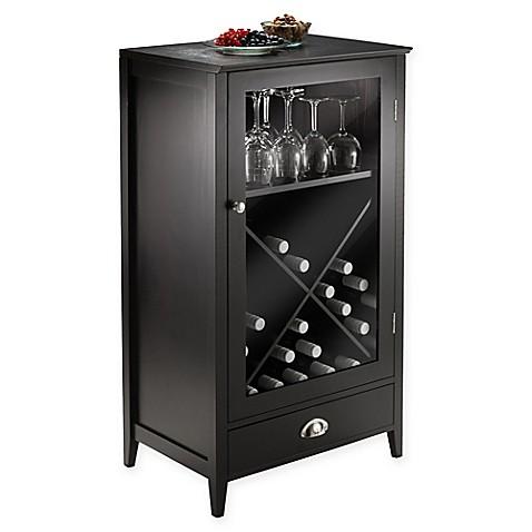 bordeaux 24 bottle x shelf wine cabinet in espresso bed bath beyond. Black Bedroom Furniture Sets. Home Design Ideas