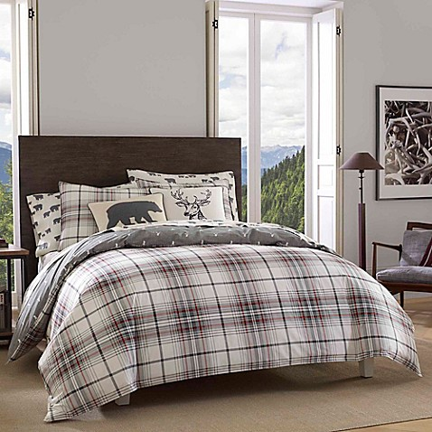mens bed sets eddie bauer 174 alder plaid reversible comforter set bed 12373
