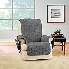 image of Sure Fit® Silky Touch Recliner Protector in Grey