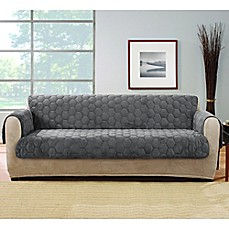 Image Of Sure Fit® Silky Touch Sofa Protector In Grey