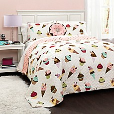 image of Lush Décor Cupcake Reversible Quilt Set