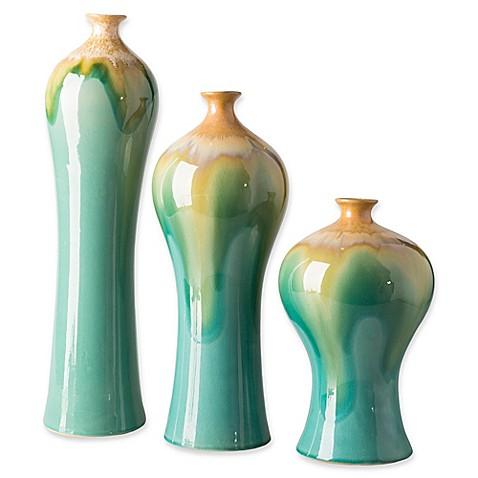 Surya Gillian Transitional Decorative Vases In Bluegold Set Of 3