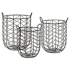 image of Madison Park Bodega 3-Piece Wire Bin Set in Grey