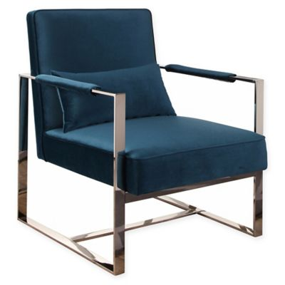 image of Abbyson Living® Kalen Stainless Steel Accent Chair in Teal