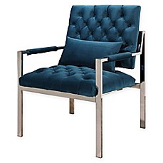 Image Of Abbyson Living McKenna Stainless Steel And Velvet Accent Chair In  Teal Blue