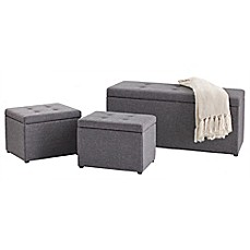 image of 3-Piece Ottoman Set in Grey