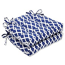 image of Pillow Perfect Graphic Chair Pads in Ultra Marine Blue (Set of 2)