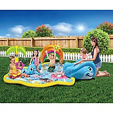 image of Banzai Splish Splash Inflatable Water Park with Canopy