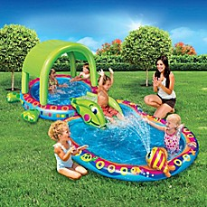 image of Banzai Shade 'N Slide Turtle Splash Pool
