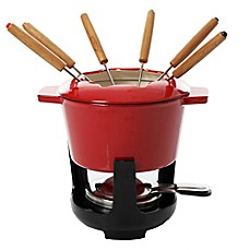Artisanal Kitchen Supply 13-Piece Enamel Fondue Set in Red Image