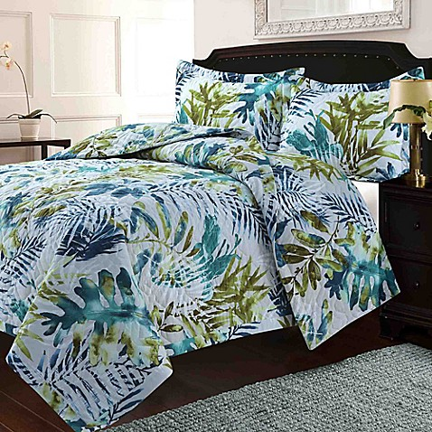 Tribeca Living Lyon Tropical Rainforest Quilt Set Bed