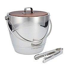 image of Crafthouse by Fortessa Stainless Steel Ice Bucket with Wood Lid and Tongs