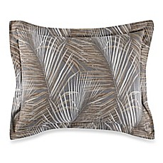 image of Tommy Bahama® Raffia Palms Standard Pillow Sham in Pewter