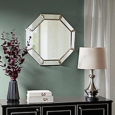 image of Madison Park Signature Eleanor 26.18-Inch Octagonal Mirror in Antique Silver