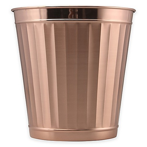 Buy metal wastebasket in rose gold from bed bath beyond for Gold bathroom wastebasket