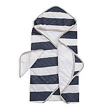 image of Little Unicorn™ Cotton Hooded Towel and Washcloth Set in Navy Stripe