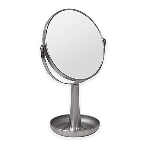nickel bathroom mirror buy 3x vanity mirror with tray in brushed nickel from bed 13825