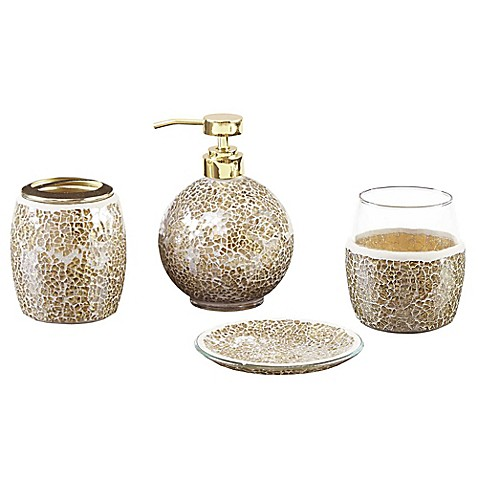 Madison park mosaic 4 piece bath accessory set bed bath for Gold mosaic bathroom accessories