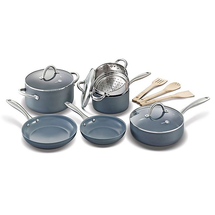 Greenpan Lima Ceramic Nonstick 12 Piece Cookware Set In Grey Bed Bath Beyond