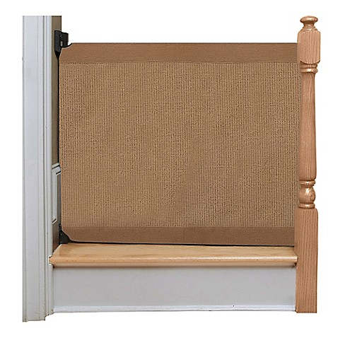 The Stair Barrier Wall To Banister Gate In Mocha Buybuy Baby