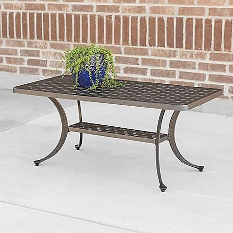 Walker Edison Cast Aluminum Wicker Outdoor Coffee Table In Antique Bronze Bed Bath Beyond