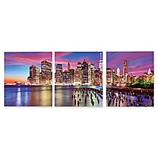 image of Elementem Photography 3-Panel Lower Manhattan 20-Inch x 60-Inch Photographic Canvas Wall Art