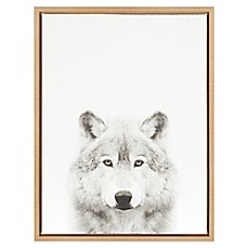 image of Kate and Laurel Wolf Canvas in Black and White with Grey Frame