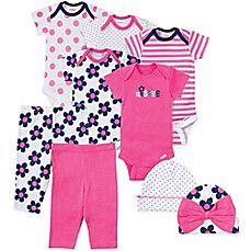 image of Gerber® 9-Piece Flower and Dot Bodysuit, Pant, and Hat Set in Pink