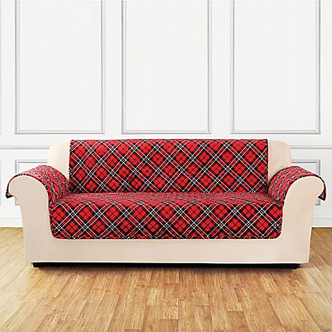 Buy Sure Fit 174 Holiday Tartan Plaid Sofa Cover In Red From