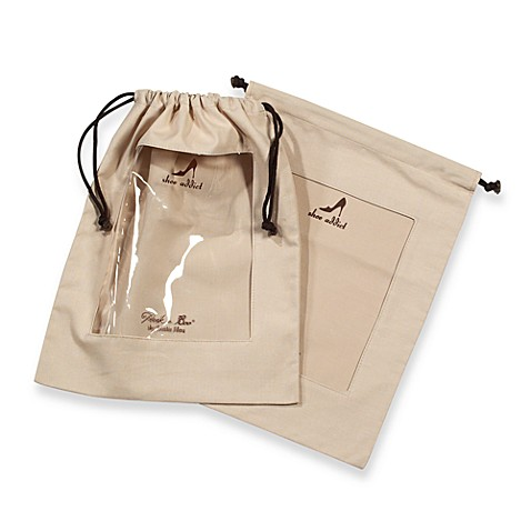 Clear Peek A Boo Window Khaki Shoe Bags Set Of 2 Bed