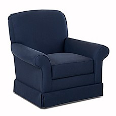 image of Klaussner® Trigg Swivel Glider in Spinnsol Indigo