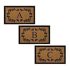 image of Nature by Geo Crafts Leaf Bordered Letter Door Mat in Natural Black
