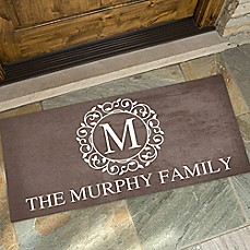 image of Circle & Vine Monogram Door Mat