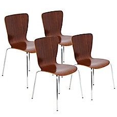 image of Lumisource Bentwood Stackable Dining Chair in Brown (Set of 4)