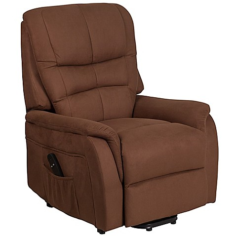 Flash Furniture Microfiber Remote Powered Lift Recliner in Brown ...