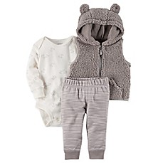 image of carter's® 3-Piece Sherpa Little Vest Set in Grey