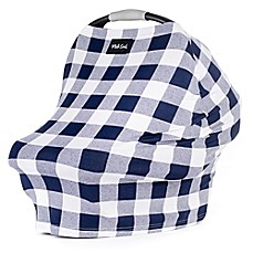 image of Milk Snob® Multi-Use Car Seat Cover in Navy Plaid