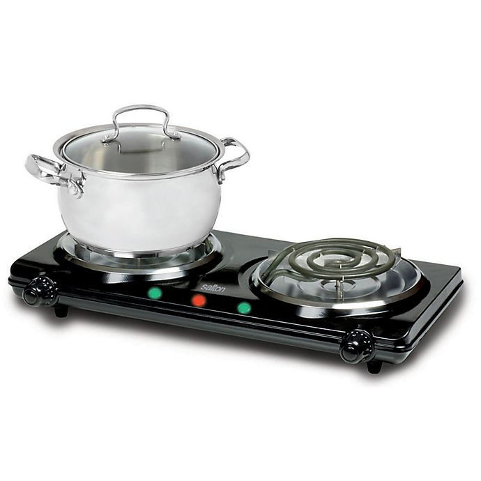 Salton Double Burner Portable Cooktop In Black Bed Bath Beyond