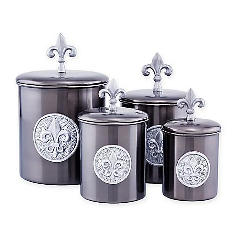 Buy old dutch international 4 piece fleur de lis canister set in antique pewter from bed bath - Fleur de lis canisters ...