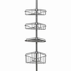 image of Zenna Home® 3-Basket Corner Pole Shower Caddy in Satin Nickel