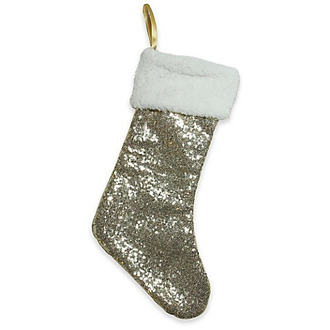 Northlight Gilded White Christmas Stocking in Gold