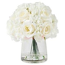 image of Pure Garden 11.5-Inch Hydrangea/Rose Artificial Arrangement in Cream with Clear Glass Vase