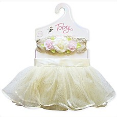 image of Toby 2-Piece Size 0-12M Vintage Lace Tutu and Headband Set in Ivory