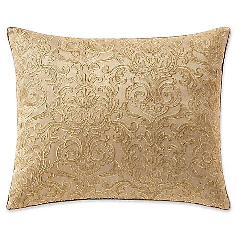 Waterford Leighton Embroidered Oblong Throw Pillow in Gold - Bed Bath & Beyond